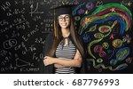 student in mortarboard... | Shutterstock . vector #687796993