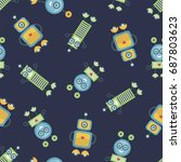 seamless pattern with colorful... | Shutterstock . vector #687803623