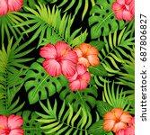 summer hawaiian seamless... | Shutterstock .eps vector #687806827