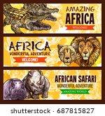 african safari wild adventure... | Shutterstock .eps vector #687815827