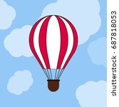 flat simple balloon with clouds ... | Shutterstock .eps vector #687818053