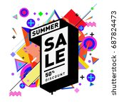 summer sale memphis style web... | Shutterstock .eps vector #687824473