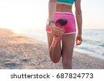 fitness runner woman doing warm ... | Shutterstock . vector #687824773