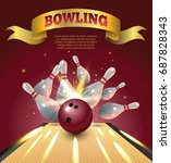 bowling club poster with... | Shutterstock .eps vector #687828343