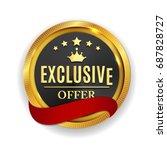 exclusive offer golden medal...   Shutterstock .eps vector #687828727