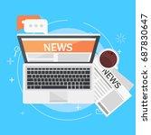 banner online news. computer ... | Shutterstock .eps vector #687830647