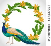 wreath with peacock  lily... | Shutterstock .eps vector #687837337