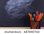 multicolor pencils with black... | Shutterstock . vector #687840763