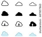vector set of cloud icons.... | Shutterstock .eps vector #687857863