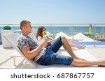 happy honeymoon vacation at... | Shutterstock . vector #687867757