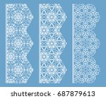 vector set of line borders with ... | Shutterstock .eps vector #687879613