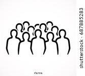 crowd of anonymous people ... | Shutterstock .eps vector #687885283