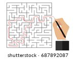 the hand traced the path... | Shutterstock .eps vector #687892087