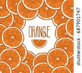 colored background with oranges.... | Shutterstock .eps vector #687901747