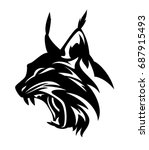 angry lynx head   black and...   Shutterstock .eps vector #687915493