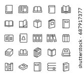 Set Of 25 Book Thin Line Icons...