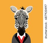 zebra with clothes in orange... | Shutterstock .eps vector #687920497