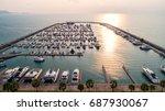 pier speedboat. a marina lot.... | Shutterstock . vector #687930067