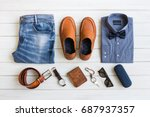 flat lay  men's fashion casual... | Shutterstock . vector #687937357