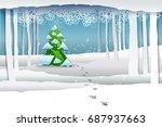 paper art winter snow forest...   Shutterstock .eps vector #687937663