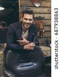 portrait of handsome caucasian... | Shutterstock . vector #687938863