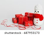 snowmen decoration with red... | Shutterstock . vector #687953173
