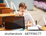 young fashion business woman... | Shutterstock . vector #687958177