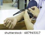 woman blood pressure's patients ... | Shutterstock . vector #687965317