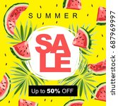 summer sale colorful banner...   Shutterstock .eps vector #687969997