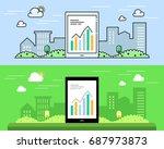 line flat design concept... | Shutterstock .eps vector #687973873