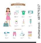 packing a hospital bag. vector... | Shutterstock .eps vector #687975217