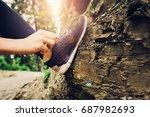 close up running woman shoes | Shutterstock . vector #687982693