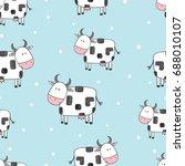 doodle cartoon cows seamless... | Shutterstock .eps vector #688010107