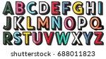 English alphabet of stitched...