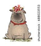 cute cartoon dog   Shutterstock .eps vector #688023553