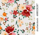 seamless floral pattern in... | Shutterstock .eps vector #688028287