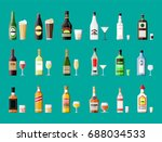 alcohol drinks collection.... | Shutterstock .eps vector #688034533