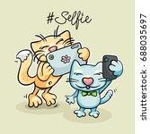 two cartoon cats taking selfie... | Shutterstock .eps vector #688035697