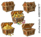 open and closed pirate treasure ... | Shutterstock .eps vector #688035877