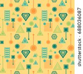 abstract seamless pattern from... | Shutterstock .eps vector #688036087