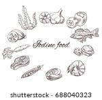 iodine food vector sketch set ... | Shutterstock .eps vector #688040323