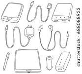 vector set of mobile device... | Shutterstock .eps vector #688088923