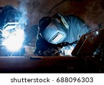 welder at work. | Shutterstock . vector #688096303