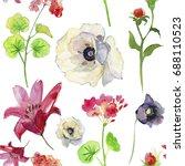 wildflower  flower pattern in a ... | Shutterstock . vector #688110523