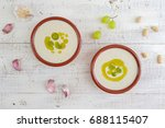 ajoblanco spanish garlic soup | Shutterstock . vector #688115407