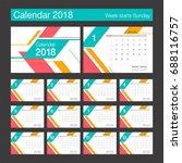 2018 calendar. desk calendar... | Shutterstock .eps vector #688116757