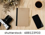 notebook and smart phone with... | Shutterstock . vector #688123933