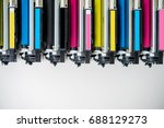 row of used laser toner... | Shutterstock . vector #688129273
