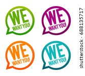 we want you round buttons.... | Shutterstock .eps vector #688135717