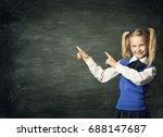 child school girl pointing... | Shutterstock . vector #688147687